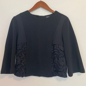 NWT Express Black Blouse sz Small Lace Design